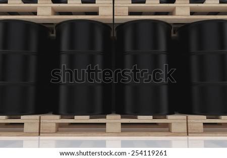 Close-up of black oil barrels on wooden pallet. 3D render background - stock photo