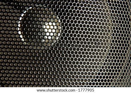 close up of black speaker - stock photo