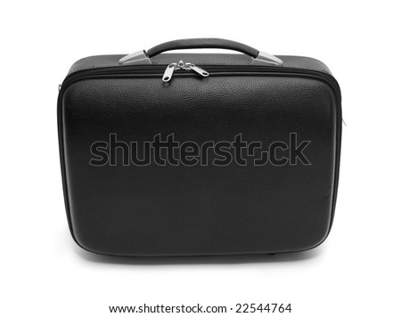 close up of black suitcase on white background with clipping path, shadow is not included