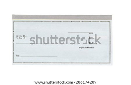 Close up of blank checkbook isolated on white background.  - stock photo