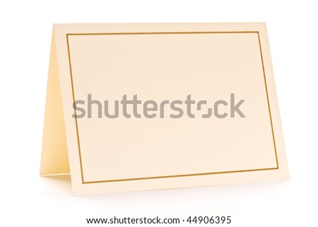 Close up of blank greeting card on white background - stock photo