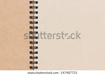 Close up of blank notebook.