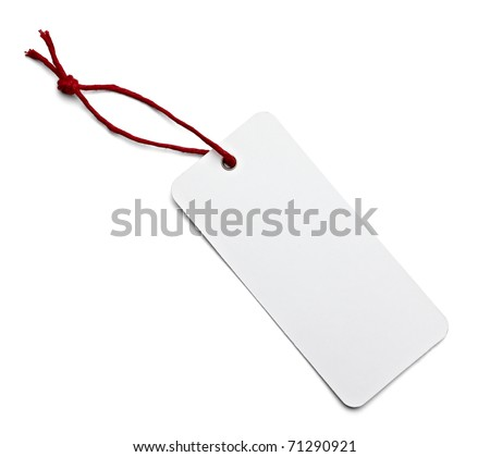 close up of blank price label on white background with clipping path