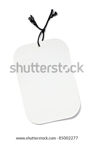 close up of blank price label on white background with clipping path - stock photo