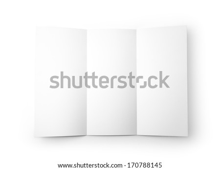 Close-up of blank white paper on white background. Studio shot with clipping path. - stock photo