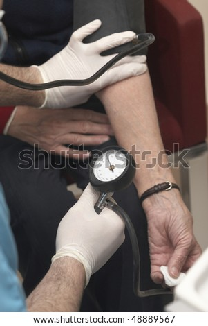 close up of blood pressure  monitoring in lab - stock photo