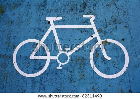 Close up of Blue Bike Lane Sign - stock photo