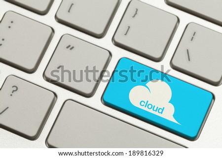 Close Up of Blue Cloud Key Button on Keyboard.