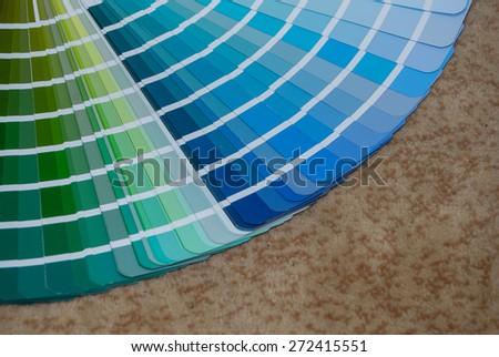 Close up of blue color palette - stock photo