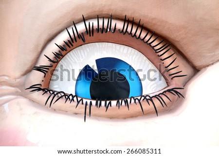 Close up of blue eye on entrance to Luna Park in Sydney Australia - stock photo