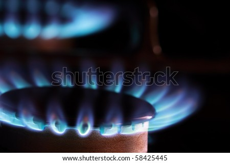 Close up of blue flames from gas kitchen range. - stock photo