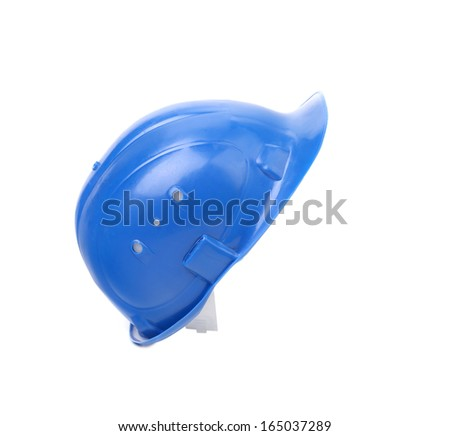 Close up of blue hardhat. Isolated on white background. - stock photo