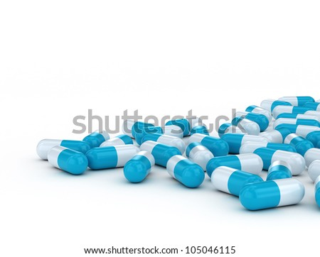 close up of blue medical capsules isolated on white background