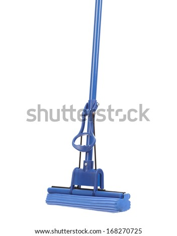 Close up of blue mop with sponge. Isolated on a white background. - stock photo