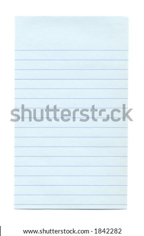 Close-up of blue note paper isolated on a white background