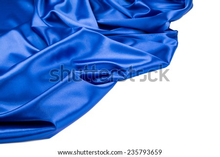 Close up of blue silk. Texture. Whole background.