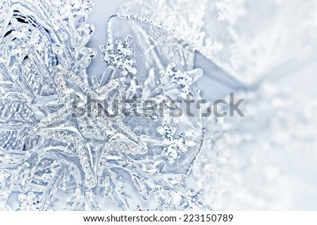Close up of blue silver Christmas decorations - stock photo