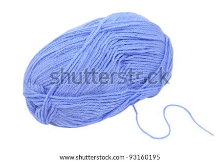 Close up of blue wool knitting on white background - stock photo