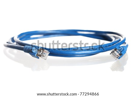 Close up of blue wound-up network cable with reflection, isolated on white background. - stock photo