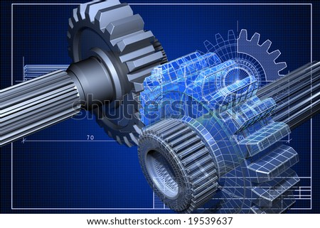 Close-up of blueprint with cogwheel - stock photo