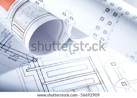 Close-up of blueprints with sketches of projects - stock photo