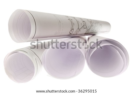 Close-up of blueprints with sketches of projects isolated on white background - stock photo