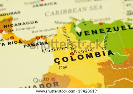 Close up of Bogota, Colombia on map - stock photo