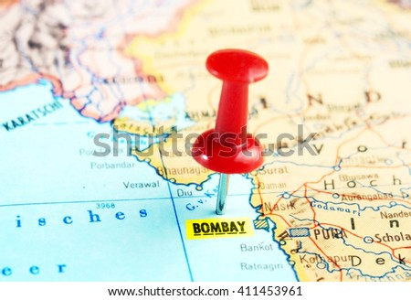Close up of Bombay India   map with red pin - travel concept - stock photo
