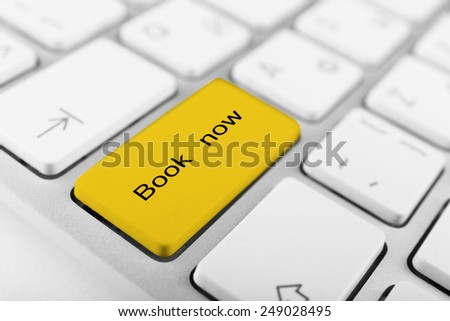 Close up of Book now keyboard button - stock photo