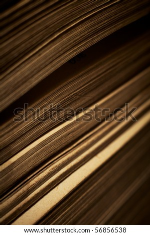 Close-up of book pages. Shallow DOF. - stock photo
