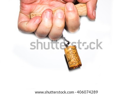 close up of bottle opener and cork of wine bottle on white background with clipping path - stock photo
