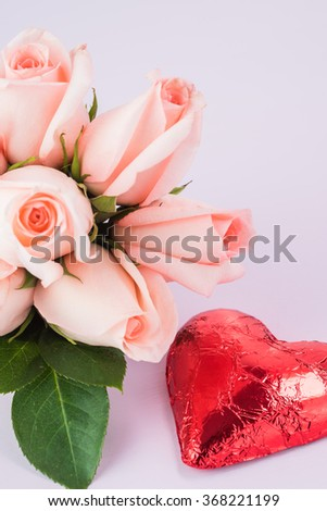 Close up of bouquet of cut pink roses.