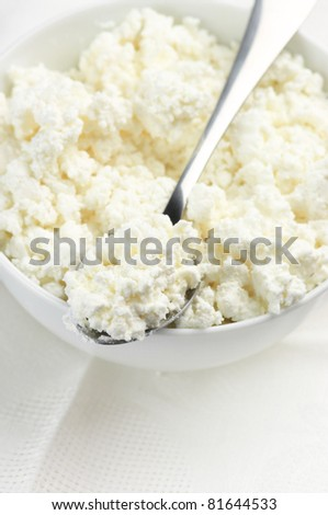 Close-up of bowl and spoon with cottage cheese. - stock photo