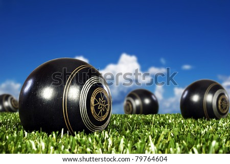 Close up of  bowling balls on an open bowling field - stock photo