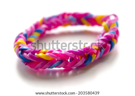 Close up of bracelet made with rubber bands - stock photo
