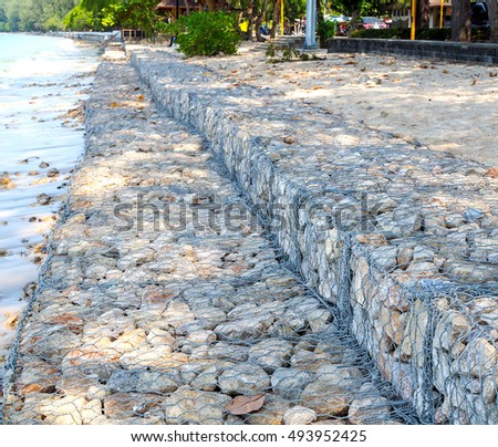 Close Up of  Breakwater at Nopparat Thara Beach in Krabi Province, Thailand