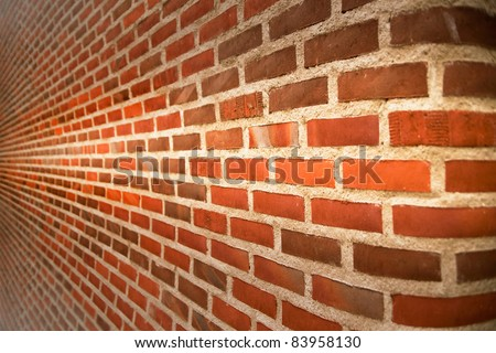 Close up of brick wall ending in infinity - stock photo