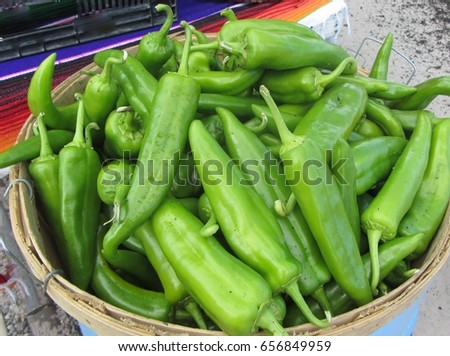 Close up of bright green fresh chilies seen at farmers market in Santa Fe New Mexico