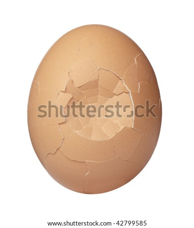 close up of broken egg on white background, with clipping path - stock photo