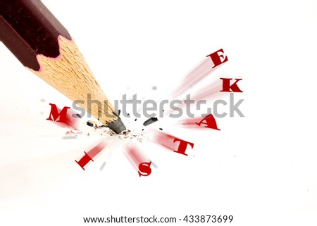 Close up of broken pencil. Mistake or error concept - stock photo