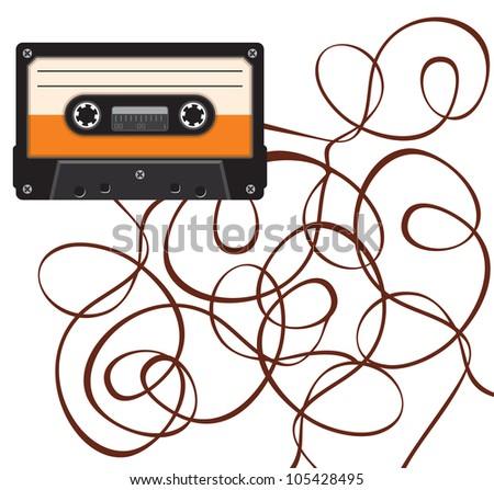close up of broken vintage audio tape - stock photo