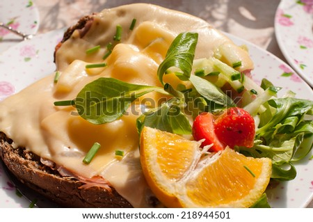 Close up of brown bread with cheese and pineapple - stock photo