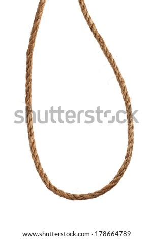 Close up of brown rope. Isolated on a white background.