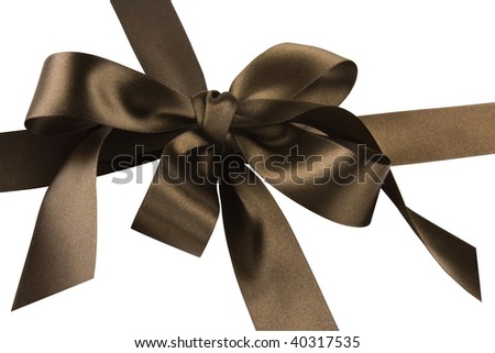 Close up of brown satin gift bow and ribbon against a white background.