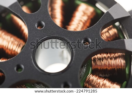 Close Up of brushless motor. - stock photo