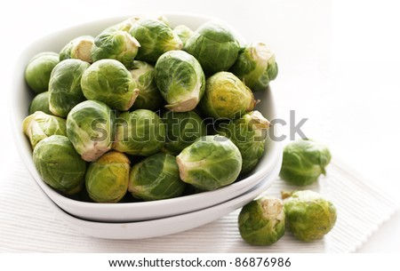 Close up of brussels sprouts in the plate - stock photo