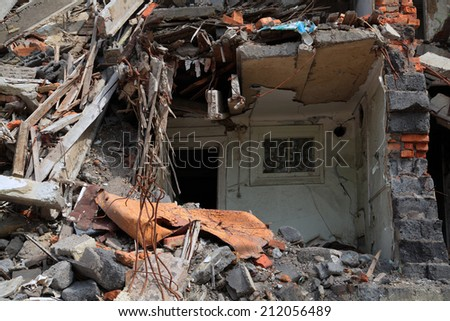 Close up of building ruins.  - stock photo