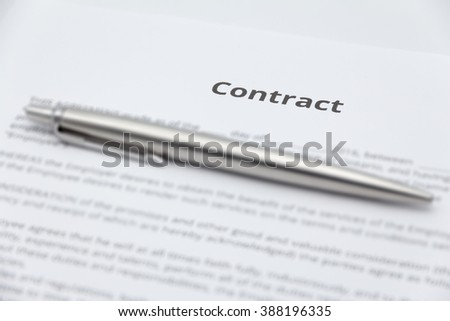 Close up of business contract document with pen. - stock photo