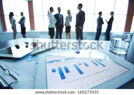 Closeup Business Document Touchpad Lying On Stock Photo