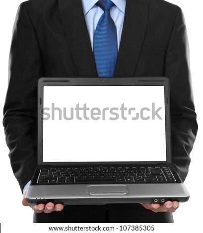 Close-up of business man presenting blank laptop screen - stock photo